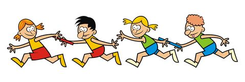 Running children, relay Stock Images