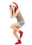 Running Christmas girl Royalty Free Stock Photo
