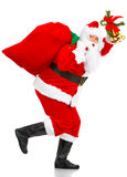 Running Christmas Santa Stock Photo