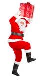 Running Christmas Santa royalty free stock image
