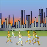 Running in the city. A team of men are running through the city vector illustration