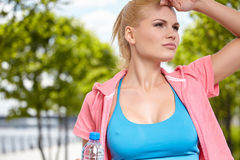 Running in city park. Woman jogging Stock Photography