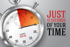 Running clocks concept - Just 15 seconds of your. Running time concept - Just 15 seconds of your time, banner with silver bright stopwatch clock and place for Stock Photos