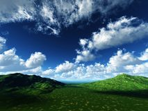 Running clouds on green pastures. White clouds running green pastures Royalty Free Stock Photography