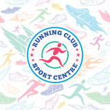 Running Club Label Template Over Running Shoes Seamless Pattern Stock Image