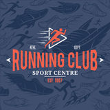 Running Club Label Template Over Running Shoes Seamless Pattern Royalty Free Stock Image