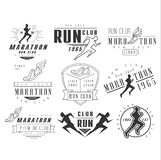Running club labels, emblems and design elements. Vector set Stock Photos