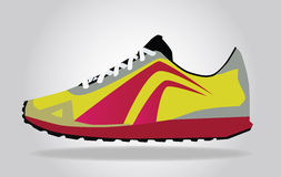 Running colorful pair shoes. Royalty Free Stock Photo