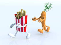 Running competition carrot and potato chips Stock Photo