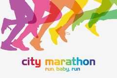 Running people. Running competition. Crowd of people is running in the city marathon vector illustration