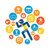Running Competition Icon set stock illustration