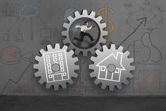 Running in concrete gear with home and office doodles Stock Image