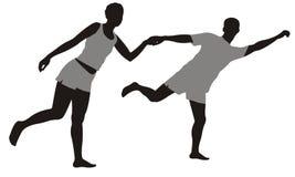 Running couple vector illustration