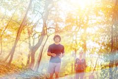 Running - Couple jogging and running outdoors in nature stock photos