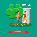 Running couple in a park. Sport fitness concept vector illustration in flat cartoon style. Stock Image