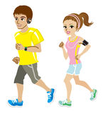 Running couple, Short sleeve. Running young couple, Short sleeve Stock Photography