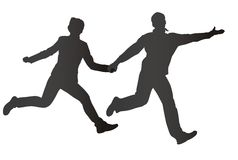 Running couple silhouette royalty free illustration
