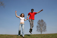 Running couple. spring. Stock Photo
