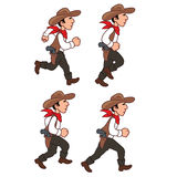 Running Cowboy Sprite. Illustration of Running Cowboy for Animation or Game Royalty Free Stock Photography