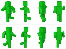 Running cubic character. 3d style green cubic character illustration. Same character from eight different viewpoints vector illustration
