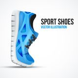 Running curved green shoes. Bright Sport sneakers Stock Image