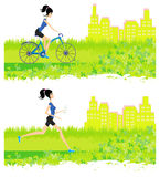 Running and cycling girl. Illustration Stock Photo