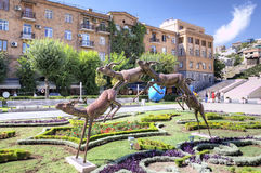The running deer. Exhibition of modern sculptures. Big Cascade. Stock Photos