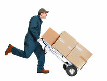 Running Delivery postman. Running delivery postman with box. Isolated on white background Stock Photo