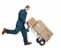 Running Delivery postman. Running delivery postman with box. Isolated on white background Stock Image