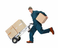 Running Delivery postman. Running delivery postman with box. Isolated on white background Royalty Free Stock Photography