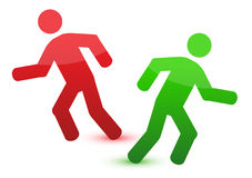 Running different directions illustration Royalty Free Stock Images