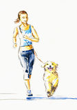 Running with dog. Stock Photography