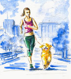 Running with dog. vector illustration