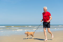 Running with dog at the beach Royalty Free Stock Photos