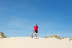 Running with dog in nature Royalty Free Stock Images