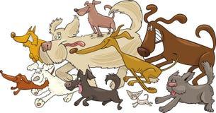 Running dogs. Cartoon illustration of running dogs royalty free illustration