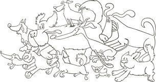 Running dogs for coloring. Running dogs illustration for coloring book stock illustration