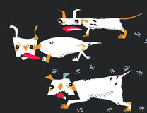 Running dogs. Hand drawn in vector in primitive cartoon like style stock illustration