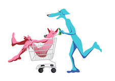 Running dogs for shopping Stock Photo