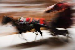 Running donkey carriage panning Royalty Free Stock Photos