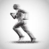 Running dot man. Running man consisting of lots of dots royalty free illustration