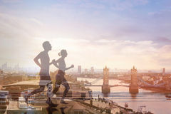 Running double exposure, workout Royalty Free Stock Image