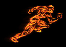 Running. Drawing man running race fire stock illustration
