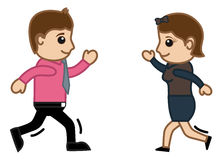 Running for Each Other Vector Illustration Royalty Free Stock Photo