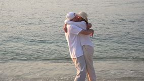 Running into each others arms stock footage