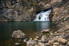 Running Eagle Falls. Long exposure of Running Eagle Falls at Glacier National Park in Montana Stock Photography