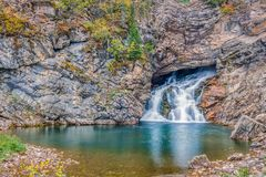 Running Eagle Falls in the Two Medicine area.Glacier National Pa stock photo