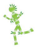 Running Eco Man. Illustration of running ecological conservation character Stock Image