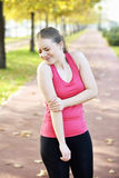 Running elbow injury and pain Royalty Free Stock Images