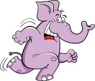 Running Elephant. Cartoon Illustration of a Happy Running Elephant Royalty Free Stock Photography